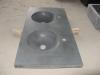 Wastafel met geïntegreerde ronde spoelbakken 115/50/15cm