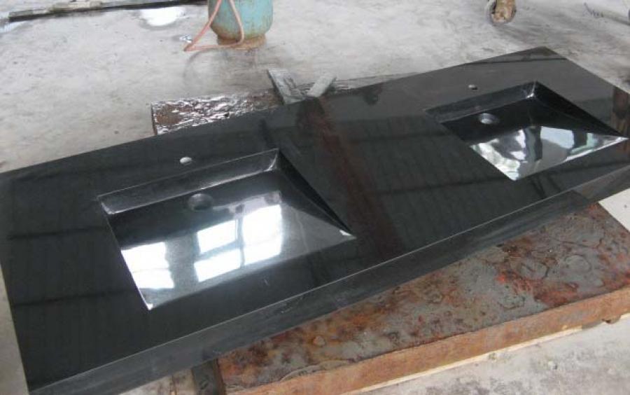 Wastafel Natuursteen : Tanit 2 zwart graniet gepolijste wastafel, 200 ...