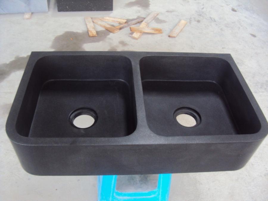 Spoelbak Keuken Natuursteen : Dubbele spoelbak voor Keuken 89,5/50/18cm zwart graniet gezoet